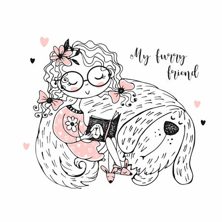 A cute girl is reading a book next to her shaggy dog. Vector Ilustração