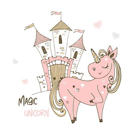 Cute unicorn and fairy castle. Vector.