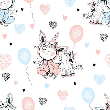 Seamless pattern with a cute baby in pajamas with his toy unicorn and balloons. Vector.