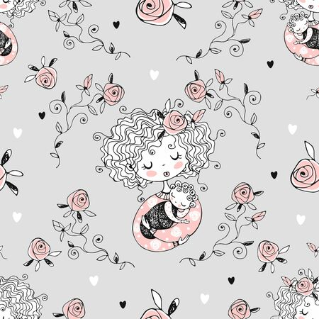 Seamless pattern on the topic of motherhood. Mom and baby. Vector.