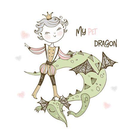 A fairy Prince and a dragon. Vector. Ilustração