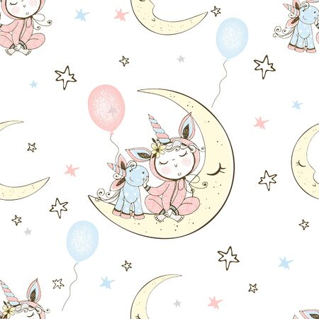 Seamless pattern with a cute baby in pajamas sitting on the moon with his toy unicorn. Vector.