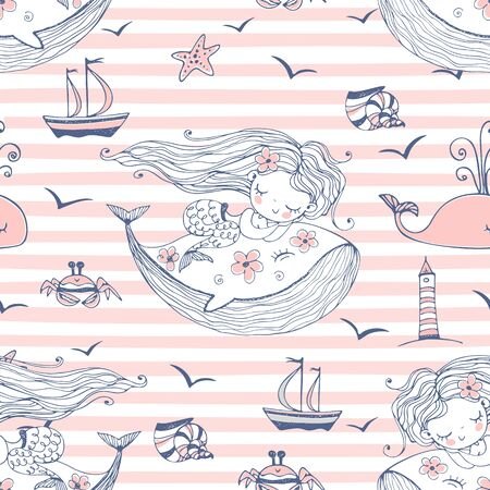 Seamless pattern with cute mermaids sleeping on whales on a striped background. Vector.