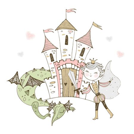 A fairy-tale castle with a Prince and a dragon. Vector.