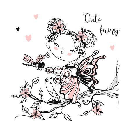 A cute little fairy with a dragonfly. Vector Ilustração