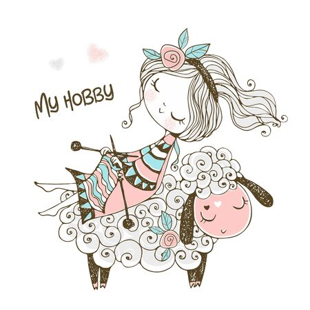 A cute girl sits on a sheep and knits a scarf. Vector.