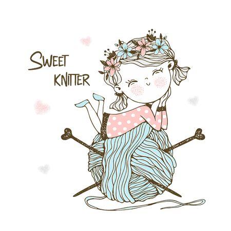 Cute little knitter with a huge skein of yarn. Vector. Ilustração