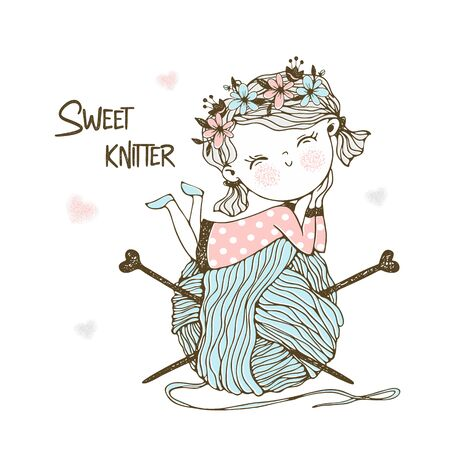 Cute little knitter with a huge skein of yarn. Vector. Illustration