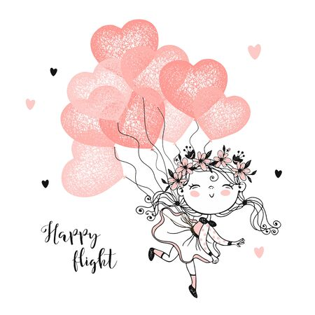 Cute girl flying on balloons in the shape of a heart. Vector Ilustração
