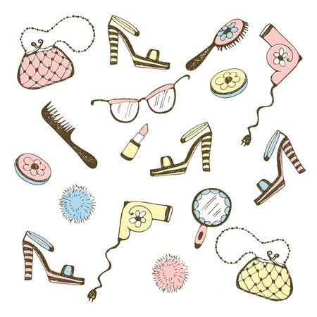 Set of women's accessories, cosmetics. Vector illustration