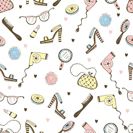 Seamless pattern with cosmetics and women's accessories. Vector.