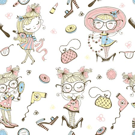 Trendy little cute girls who want to look like adults. Fashionistas with women's accessories. Seamless pattern. Vector. Ilustração
