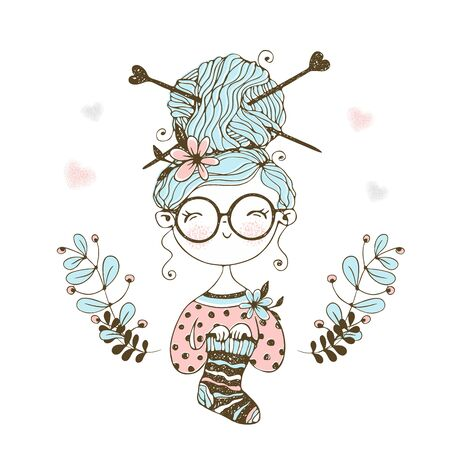 A cute little needlewoman knitted a sock. Vector. Ilustração