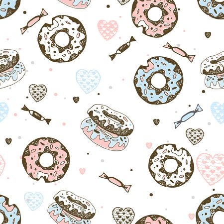 Seamless pattern with sweet donuts and candies. Vector. Ilustração