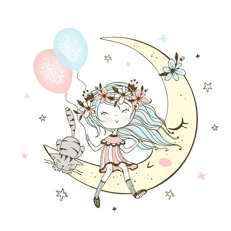 Cute girl with balloons and a cat sitting on the moon. Vector. Ilustração