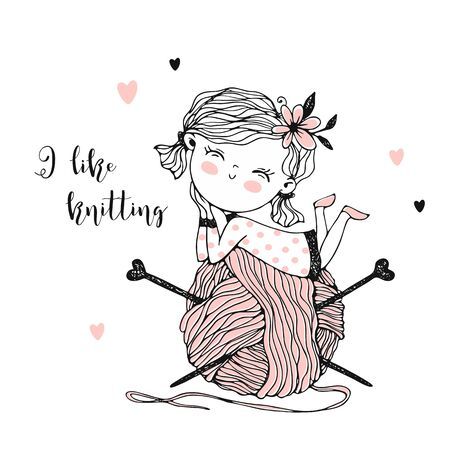 Cute little knitter with a huge skein of yarn. Vector