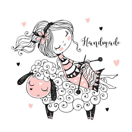 A cute girl sits on a sheep and knits a scarf. Vector