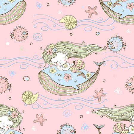 Cute little mermaid sleeping on a whale. Vector.