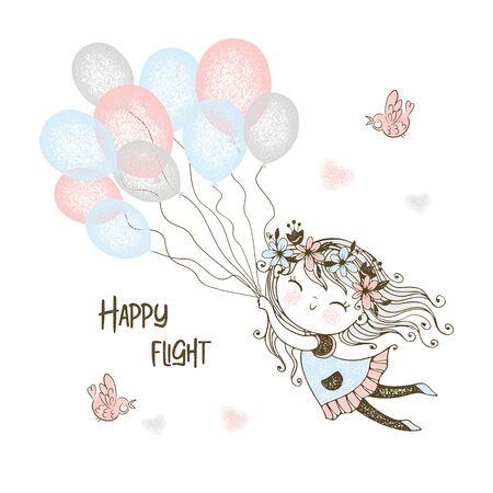Cute girl flying balloons. Vector.