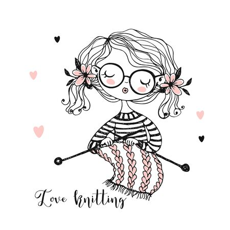 A cute girl knits a scarf on her knitting needles. Vector.