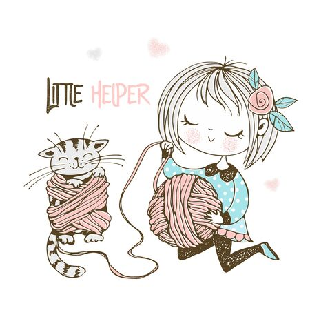 A little cute girl is winding yarn in a ball and the kitten is tangled in the threads. Vector