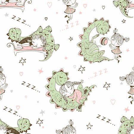 Seamless pattern with dinosaurs and small children. Vector. Ilustração
