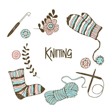 A set of elements on the theme of knitting. Yarn, knitting needles, mittens, socks. Vector.