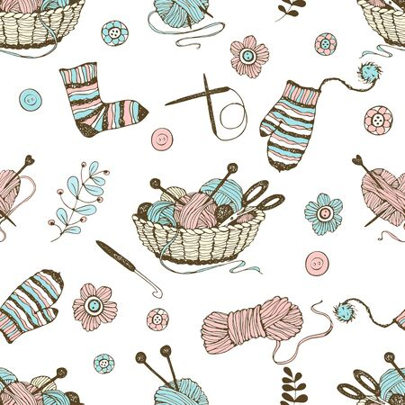 Seamless pattern on the theme of knitting with a basket and balls of yarn. Vector.