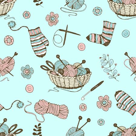 Seamless pattern on the theme of knitting with a basket and balls of yarn on a turquoise background. Vector. Ilustração
