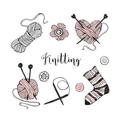 A set of elements on the theme of knitting. Yarn, needles, and sock. Vector. Ilustração