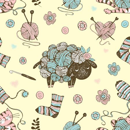 Seamless pattern on the theme of knitting with a cute lamb from balls of yarn and a cute cat. Vector.