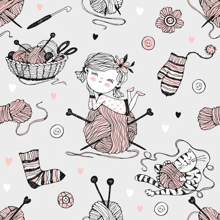 Seamless pattern on the theme of knitting with a cute girl on a large ball of yarn and a cute cat. Vector. Ilustração