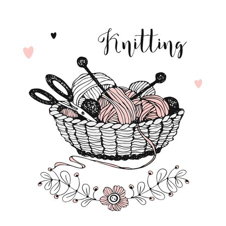Basket with knitting, skeins of yarn, wool and needles. Vector