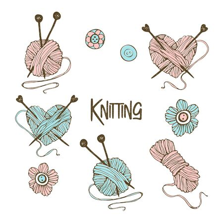 A set of elements for knitting. In the style of Doodle. Vector.