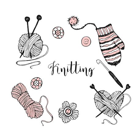 A set of elements on the theme of knitting. Yarn, knitting needles, and mittens. Vector.