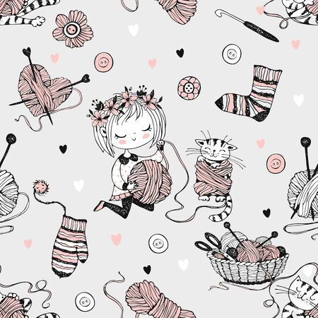 Seamless pattern on the theme of knitting with a cute knitter girl and her little cat playing with a skein of yarn.Vector. Illustration