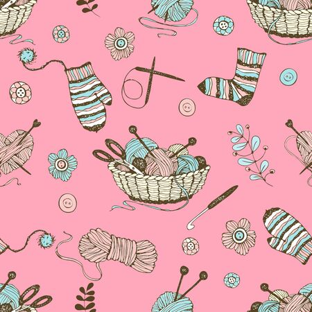 Seamless pattern on the theme of knitting with a basket and balls of yarn on a pink background. Vector.