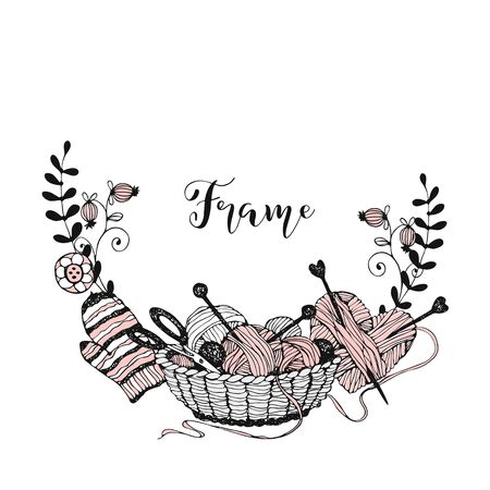 A wreath frame on the theme of knitting with a basket with yarn and mittens. Vector.