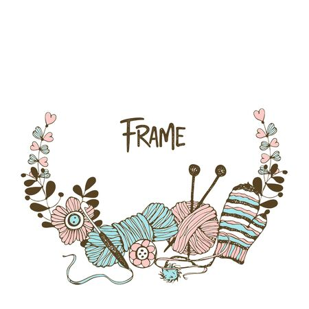 Frame wreath on the theme of knitting with skeins of yarn needles and woolen mittens. Vector.