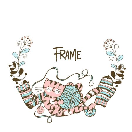 Frame wreath on the theme of knitting with a cute cat playing with a skein of yarn. Vector.