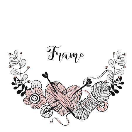 A wreath frame on the theme of knitting with skeins of yarn and flowers. Vector. Illustration