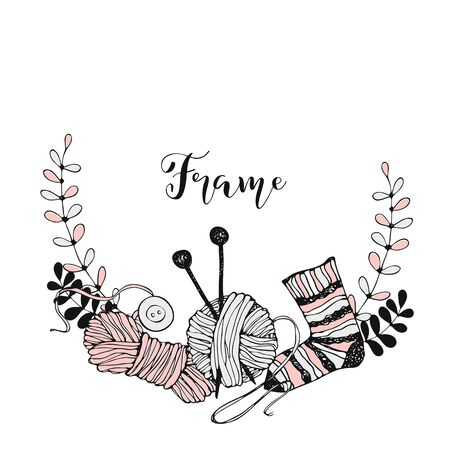 Frame wreath on the theme of knitting with skeins of yarn needles and wool socks. Vector.