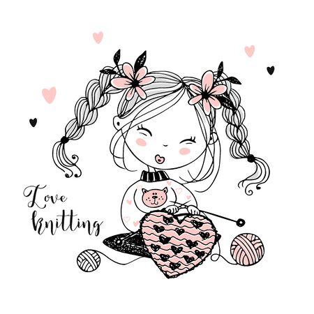 A cute little girl knits a woolen heart on her knitting needles. Vector