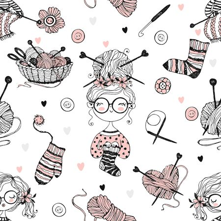 Seamless pattern on the theme of knitting with cute knitter girls in Doodle style. Vector.