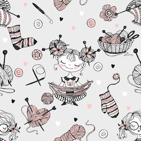 Seamless pattern on the theme of knitting with cute knitter girls in Doodle style. Vector. Banque d'images - 150057152