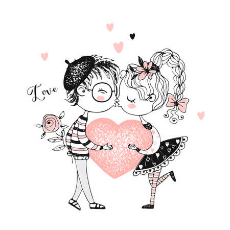 A boy and a girl kiss and hold a big heart. Vector