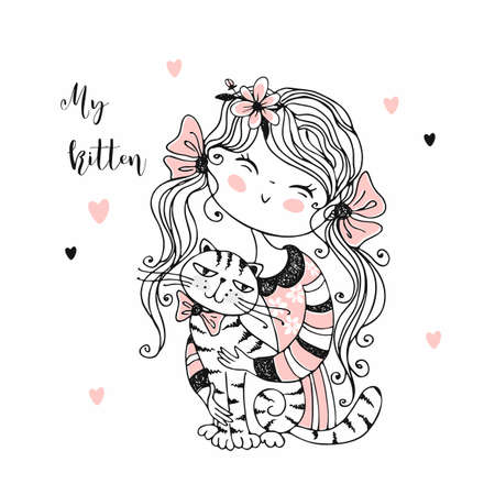 Cute girl with cats. Kittens my love. Vector