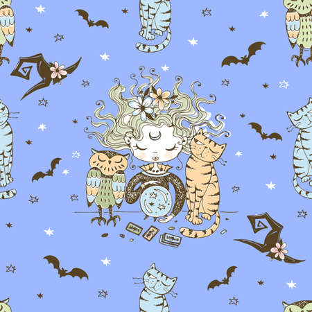 Seamless pattern with a Halloween theme with a little witch and her Pets.
