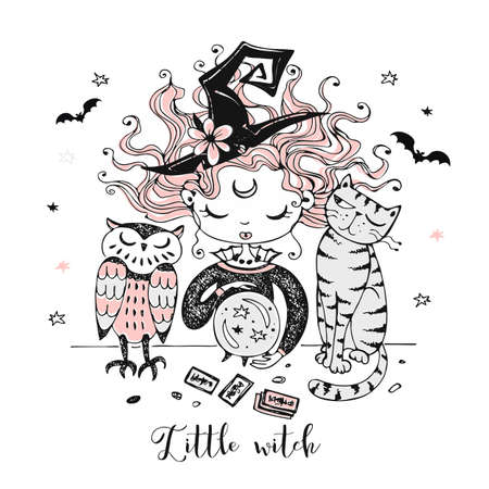 A cute little witch with a cat and an owl looks into a crystal ball. Halloween. Vector.