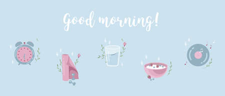 Everyday morning habits flat icon set with flowers and glow. Wake up, exercises, breakfast, music for mood. Morning routine website and mobile app onboarding screens. Menu banner vector template Illustration